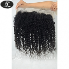 Lace frontal, Kinky Curl Peruvian hair grade 10, virgin human hair, medium size 13*4 inch lace base color black natural #1B.