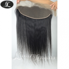 Lace frontal pre-plucked, Silky Straight Peruvian hair grade 10, virgin human hair, medium size 13*4 inch lace base color black natural #1B.