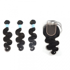 Body wave 3 bundles hair weaves + Lace closure, short Peruvian hair grade 10, natural black color, can be dyed and bleached