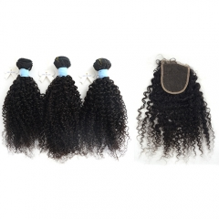 Afro curl 3 bundles hair weaves + Lace closure, short Peruvian hair grade 10, natural black color, can be dyed and bleached