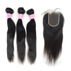 Peruvian straight 3 bundles hair weaves + Lace closure, long & short hair grade 10, natural black color, can be dyed and bleached