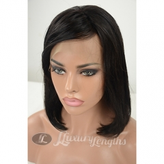 Human hair Bob wig, Peruvian hair Grade10, Lace Front wig, short hair wig with fringe in front, elastic adjustments