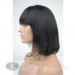 Human hair Bob wig, Brazilian hair Grade9, Lace Front wig, short hair wig with fringe in front, elastic adjustments