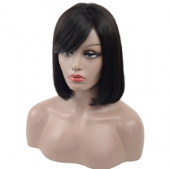 Lace Front Wig-Fringe Bob-Human hair-Virgin-Peruvian Hair