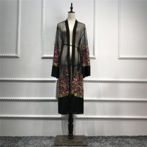 Cheap Embroidery Mesh Open Abaya Lr147