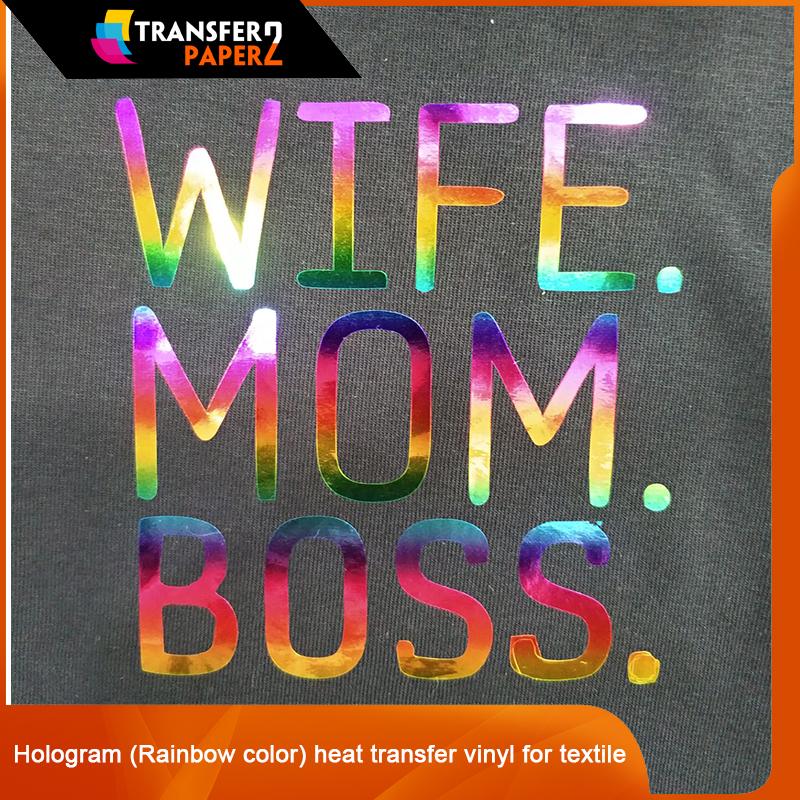 Hologram Rainbow Color Heat Transfer Vinyl For Textile