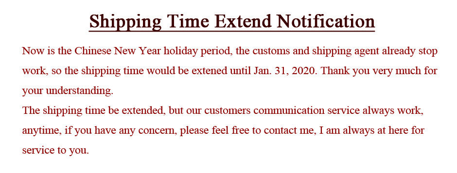 Chinese New Year shipping time extended