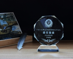 Sand-blasting Octagon Crystal Trophy for Sports Award