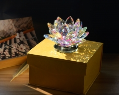 Crystal Lotus Flower Figurine In Multi-color for In-car Decoration