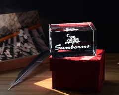 5*5*8CM Crystal Cube with Customized Logo