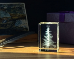 3D Laser engraved Christmas Tree Photo Crystal Cube Block