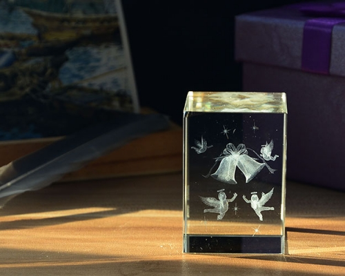 Christmas Gift 3D Laser Crystal Angel K9 Crystal Glass Cube