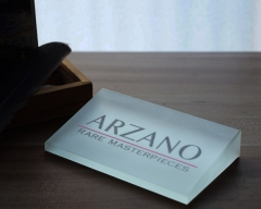 Angular Crystal Plaque Frosted Glass Plaques With Company Logo For Company Event Display