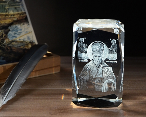 Religious Gift 3D Laser Crystal Archbishop K9 Crystal Glass Cube