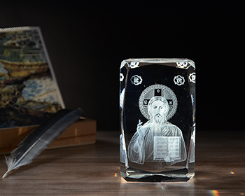 Catholic Religious Souvenir 3D Laser Crystal Jesus K9 Crystal Glass Cube