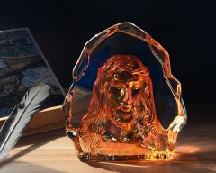 Colorfull Crystal Religious Paperweight Jesus Portrait Crystal Paperweight