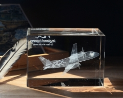 Customized Company Souvenir 3D Laser Plane K9 Crystal Glass Cube