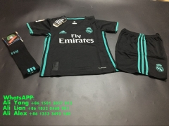 17/18 Real madrid black  away soccer jersey childs kids