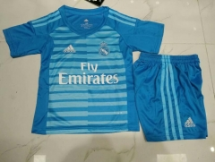 18-19 Real madrid Goalkeeper blue kids youth childs soccer jersey