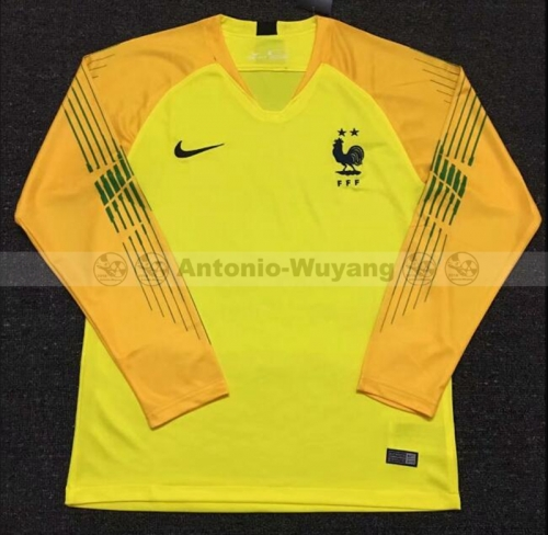 2018 France yellow long sleeve Goalkeeper soccer jersey world cup champions