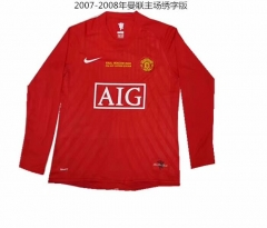 2007-2008 Manchester United home Long sleeve Commemorative Edition soccer jersey