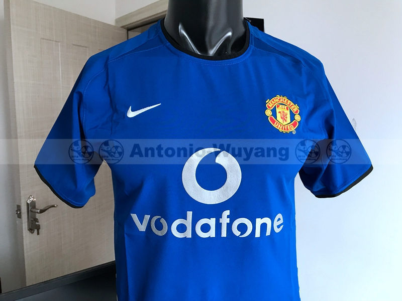 2001-2002 Manchester United away blue man united Football Shirt Retro version  new soccer jersey