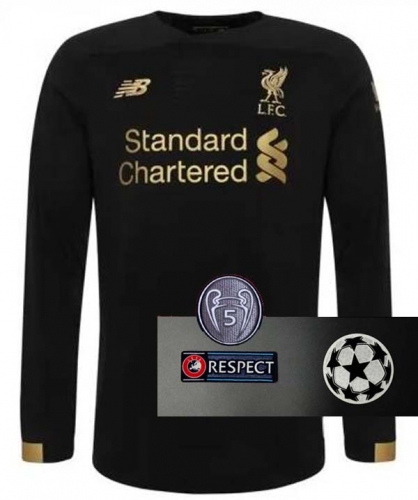 2019 2020 Liverpool Black Goalkeeper UCL champions league Longoing Sleeve  Jersey