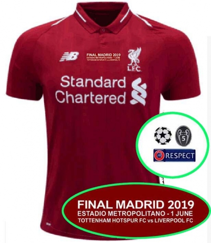 2018 2019 Liverpool champions league final jersey home