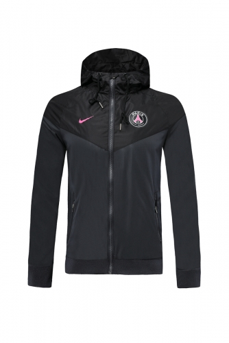 2019 2020 Paris Saint-Germain PSG 19 20 Soccer Black Windbreaker Raincoat