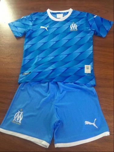 2019 2020 Marseille Away Blue Kids Football Soccer Jersey shirts