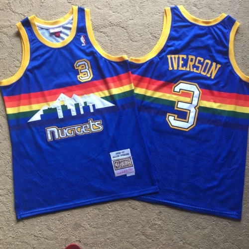 Denver Nuggets 3 #Iverson Rainbow Away Blue Sewing