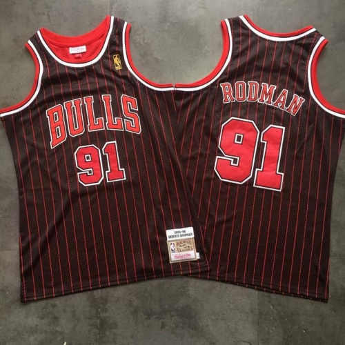 Chicago Bulls 91 # Rodman Vintage Embroidered Mesh Jersey