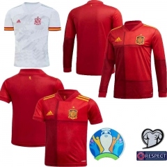 New 2020 Spain home away jersey Long sleeve football jersey (customizable name number + patch)