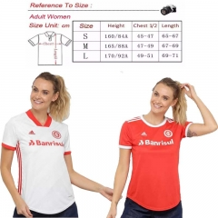 2020 21 SC INTERNACIONAL Woman home AWAY WHITE SOCCER JERSEY SHIRT