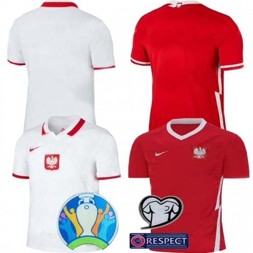 2020 Euro Poland home away football jersey mens jersey (You can customize the name number + patch)