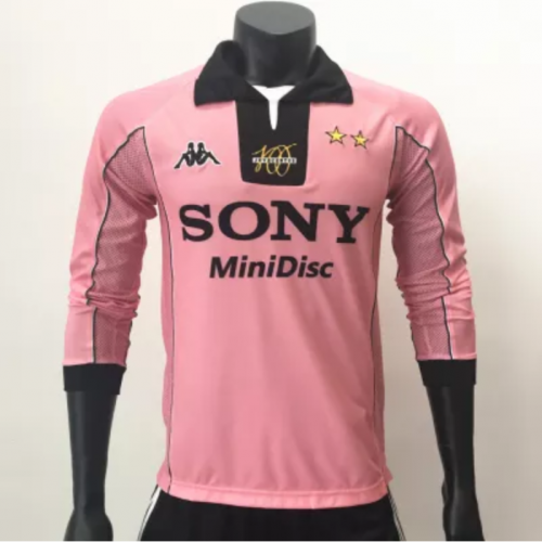 Juventus 19971998 Away LS Retro Long Sleeve Jersey-Pink Centennial (Customizable numbers and numbers)