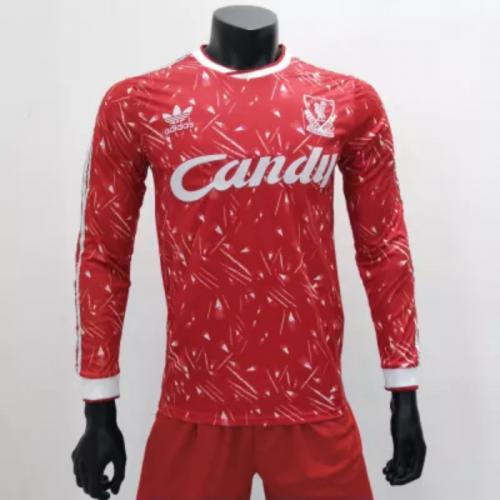 Liverpool 1989/1991 Home LS Retro Soccer Jerseys (customizable number name)