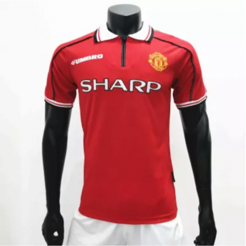Manchester United 1998/1999 Home  Retro Soccer Jerseys(customizable number name)