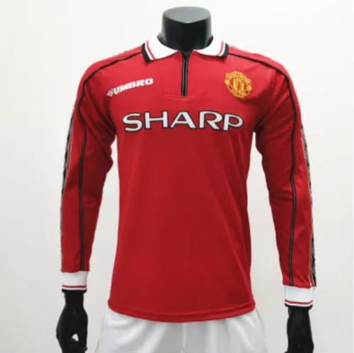 Manchester United 1998/1999 Home LS Retro Soccer Jerseys(customizable number name)