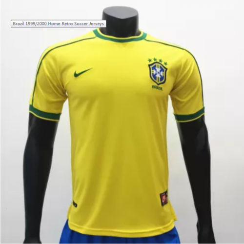 Brazil 1999/2000 Home Retro Socce Jerseys(customizable number name)