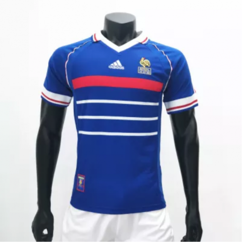 France 1998 Home Retro Socce Jerseys(customizable number name)