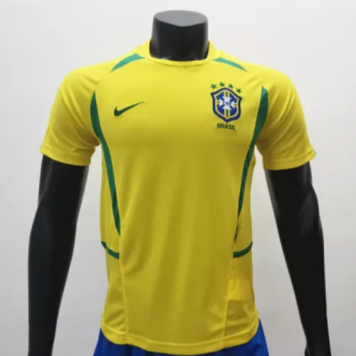 Brazil 2002/2004 Home Retro Socce Jerseys(customizable number name)