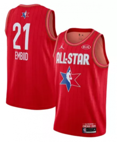 Men's Joel Embiid Red 2020  All Star Game Jerseys