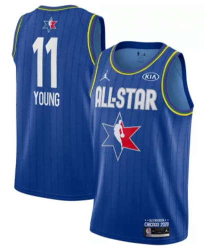 Men's Trae Young Blue  2020  All Star  Game Jerseys