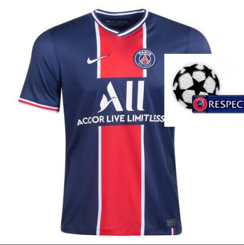 2020-2021 Paris Saint-Germain PSG MAN HOME Soccer jersey Champions League font