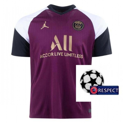 2020-2021 Paris Saint-Germain PSG MAN THIRD Soccer jersey Champions League font