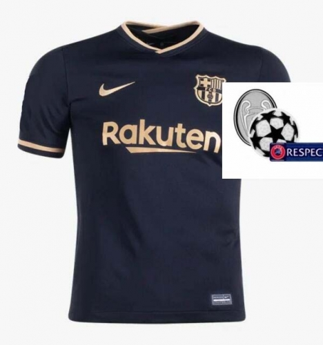 2020-2021 Barcelona AWAY Soccer jersey Champions League font UCL PATCH