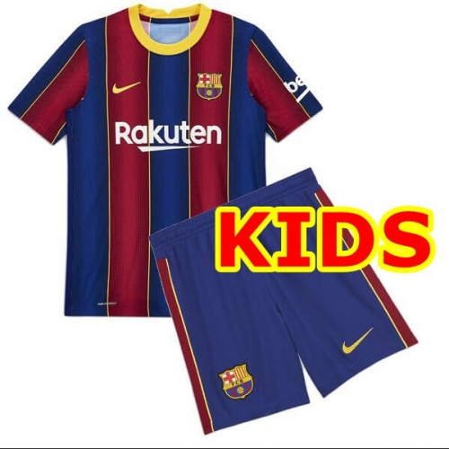 2020-2021 Barcelona HOME KIDS Soccer jersey League font LA LIAG PATCH