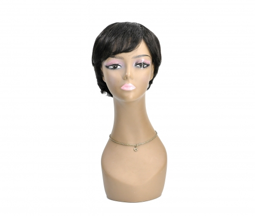 BD-015 #1B Color Short Cut Bob Wigs for Black Momo ,100% Unprocessed (Pure) Virgin Human Hair Wigs