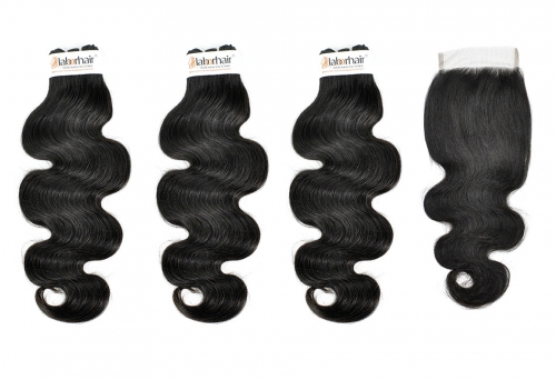 Grade 10A Body Virgin Human Hair 3 Bundles With 4*4  Lace Closure